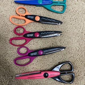Set of 5 Scrapbooking, crafting funky cut scissors